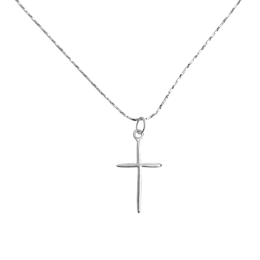 "Petite Rounded Sterling Silver Cross Charm Necklace with Gossamer Thin Sterling Silver 18"" Chain"
