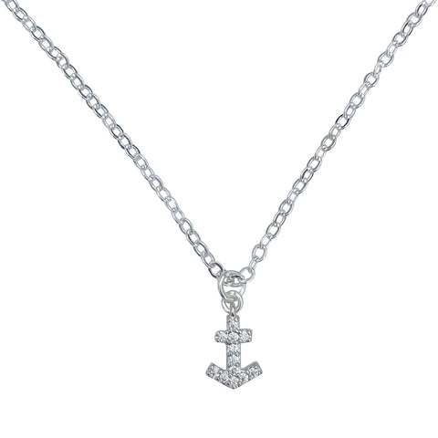 "Silver Finished Petite Mini Anchor Charm with Cubic Zirconia, on 18"" Silver Cable Chain Necklace"