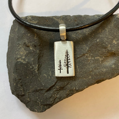 Father's Day Big & Little Tree Pendant with Extra Large Bail, on 3mm Thick Black Leather Necklace