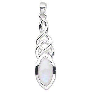 Celtic Marquise Moonstone Sterling Silver Pendant