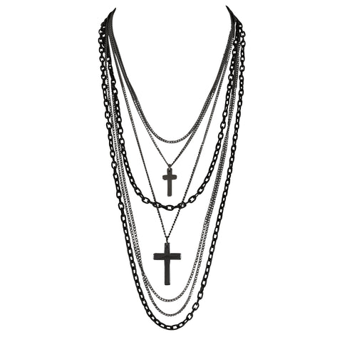 Deluxe Gothic Crosses Retro 80s Madonna Multilayer Black & Gunmetal Chain Long Multi Strand Necklace