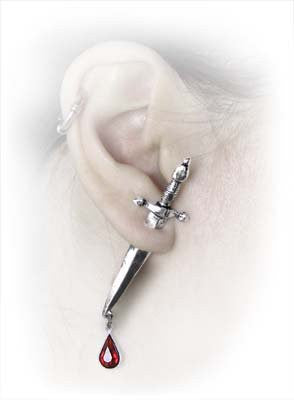 Cesare's Veto Ear Stud Red Crystal Knife Earring by Alchemy Gothic