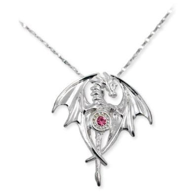 Dragon Goddess Pink Crystal Sterling Silver Necklace