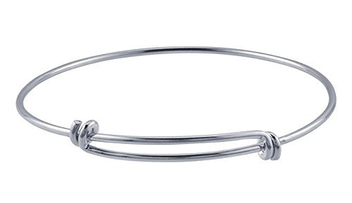 Silver Rhodium-plated Expandable Bangle Bracelet