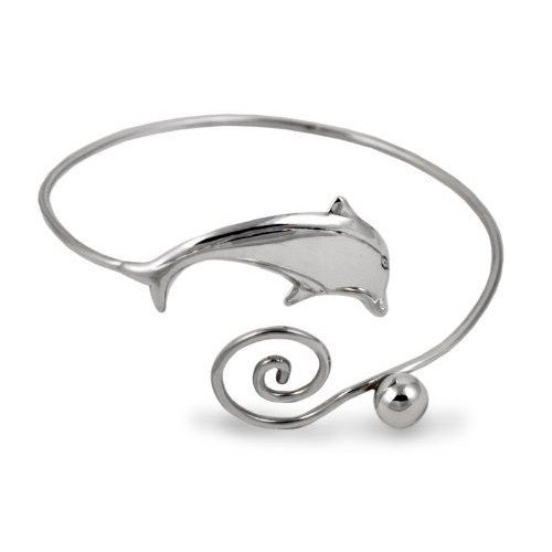 Dolphin Arm Cuff Bracelet in Sterling Silver