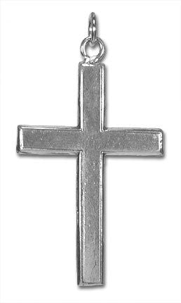 Large Plain Sterling Silver Cross Charm Pendant