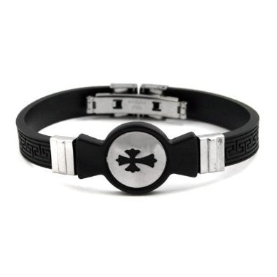 Black Rubber Steel Cross Circle Mens Bracelet