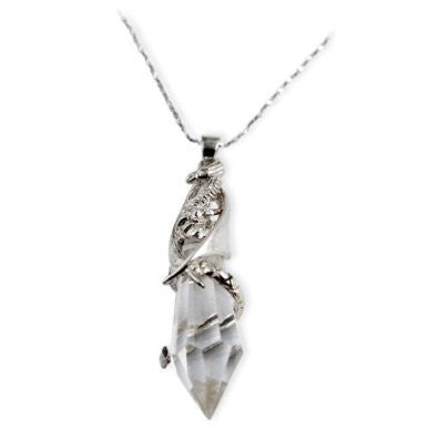 Keeper of the Crystal Dragon Pendant Sterling Silver Necklace