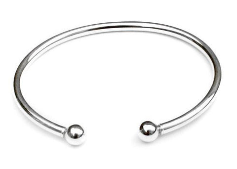 Ball End Cuff Bracelet in Sterling Silver