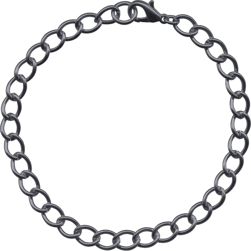 Gunmetal 6mm Curb Mens Bracelet Chain - 8 inches