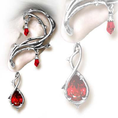 Passion Ear Wrap Red Crystal Earring by Alchemy Gothic