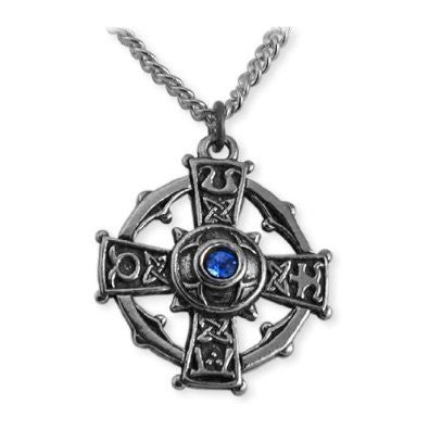 Raith Gras Blue Crystal Cross Necklace