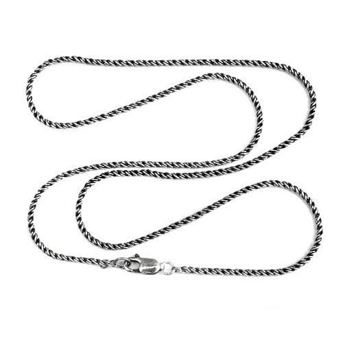 1.8mm Sterling Silver and Black Reverse Rope Chain
