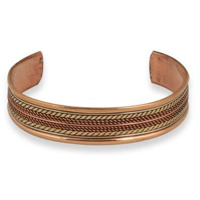 Noble Tricolor Copper Braid Cuff Bracelet