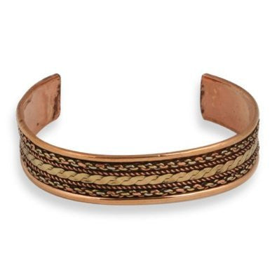 Pizazz Tricolor Copper Braid Cuff Bracelet