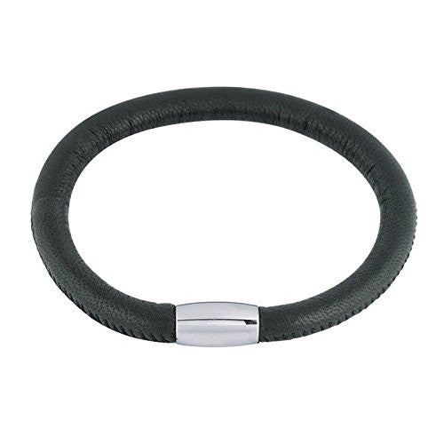 Black Italian Nappa Leather Mens Bracelet with Steel Magnetic Clasp