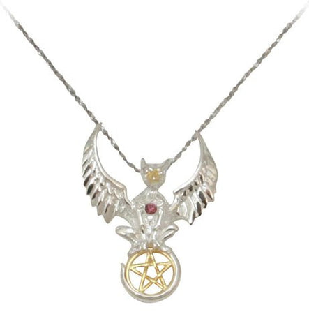 Griffin Pentagram Sterling Silver and Gold-tone Pendant Necklace