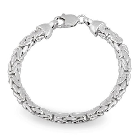 7mm Byzantine Chain Bracelet in Sterling Silver
