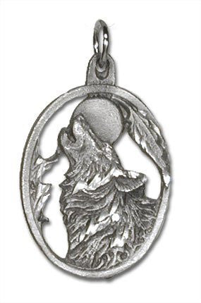 Wolf Head Pewter Charm