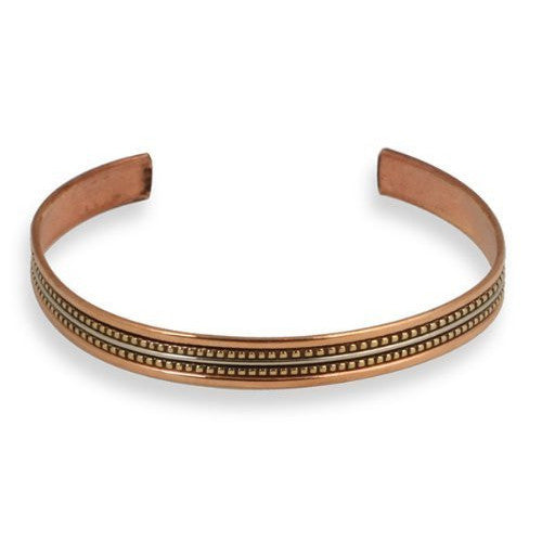 Narrow Tricolor Copper Cuff Bracelet