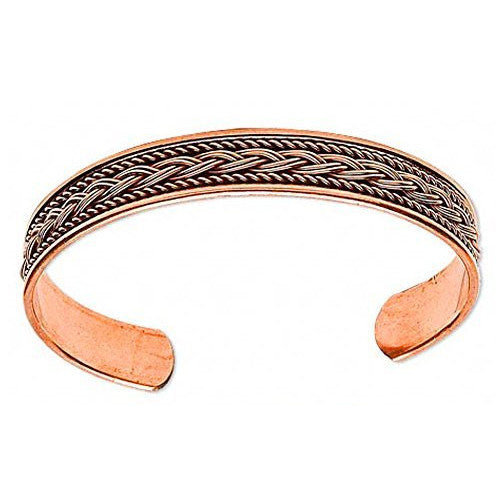 All Copper Braided Inlay Cuff Bracelet