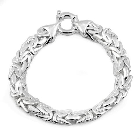 10mm Byzantine Chain Bracelet in Sterling Silver
