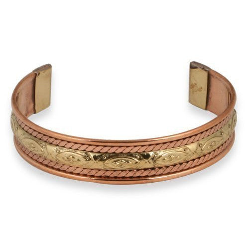 Queen's Copper and Brass Cuff Bracelet