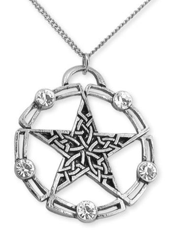 Celtic Crystal Pentagram Pendant Necklace