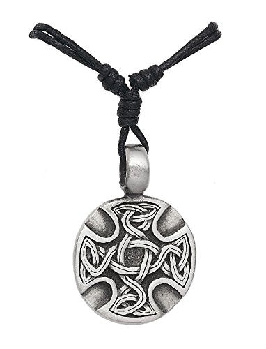 Mens Pewter Celtic Cross Circle Shield Pendant on Adjustable Necklace Cord