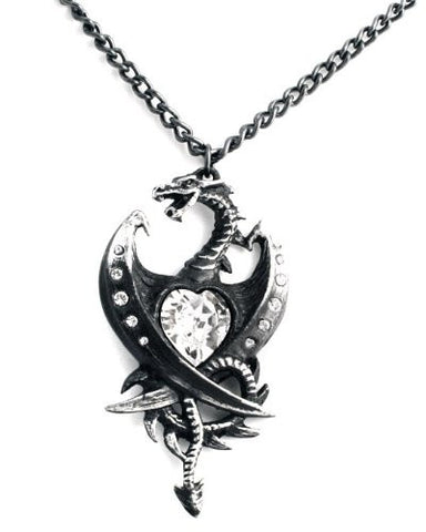 Diamond Heart Dragon Alchemy Gothic Pendant Necklace
