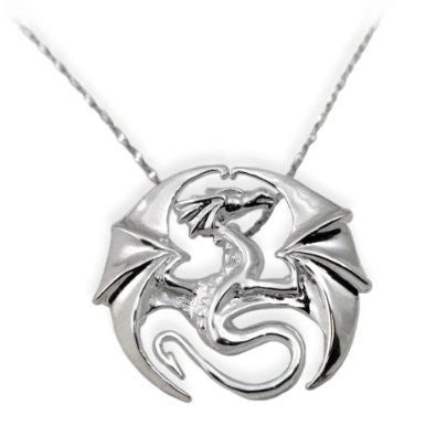 Draco Dragon Circle Sterling Silver Pendant Necklace