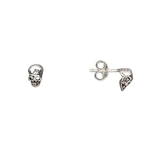 Tiny Sterling Silver Skull Stud Earrings, Pair