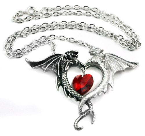 Coeur Sauvage Alchemy Gothic Double Dragon Heart Necklace