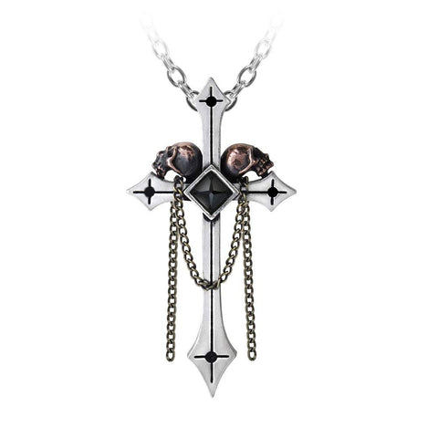 Golgotha Pendant Skull Cross Necklace by Alchemy Gothic