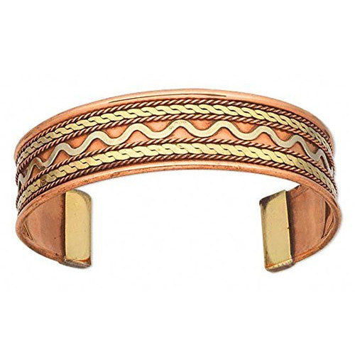 Silver River Brass Inlay Copper Cuff Bracelet