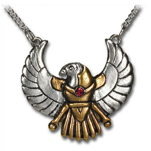 Horus Falcon Egyptian Pewter Pendant Necklace Dragonweave Jewelry