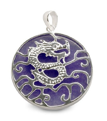 Purple Jadeite Dragon Sterling Silver Pendant