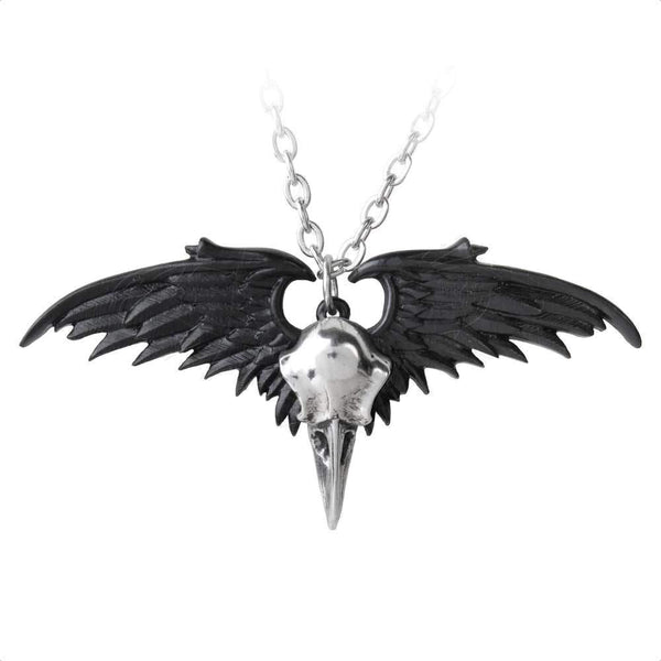 Ravenger Black and Silver Winged Raven Skull Pendant Necklace Alchemy Gothic