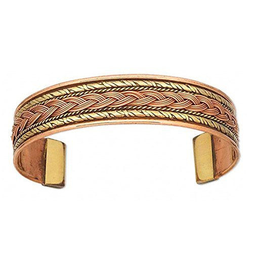 Double Weave Brass Inlay Copper Braid Cuff Bracelet