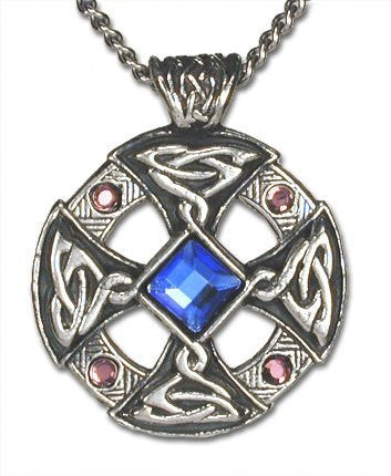 Sapphire Crystal Celtic Cross Pendant Necklace