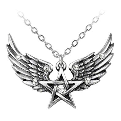 O Fortuna Winged Pentagram Pendant Necklace Alchemy Gothic