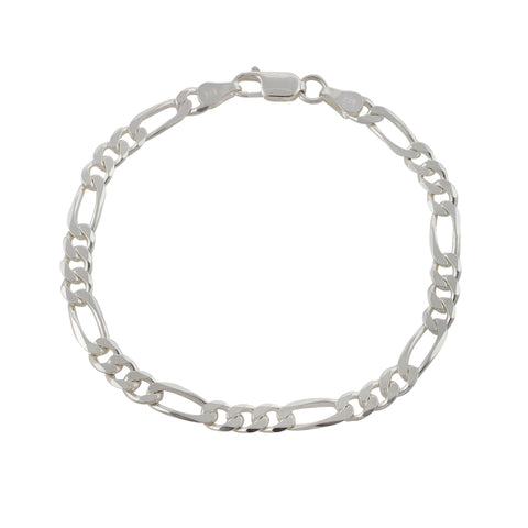 5.4mm Sterling Silver Figaro Chain Bracelet - 8 Inches
