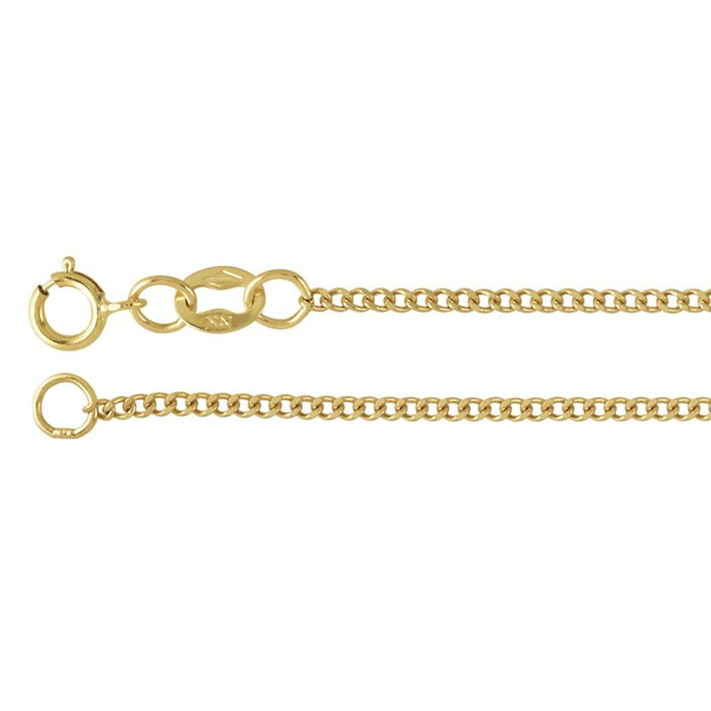 14K Yellow Gold 1.3mm Flat Diamond-Cut Curb Chain Necklace - 18 Inches