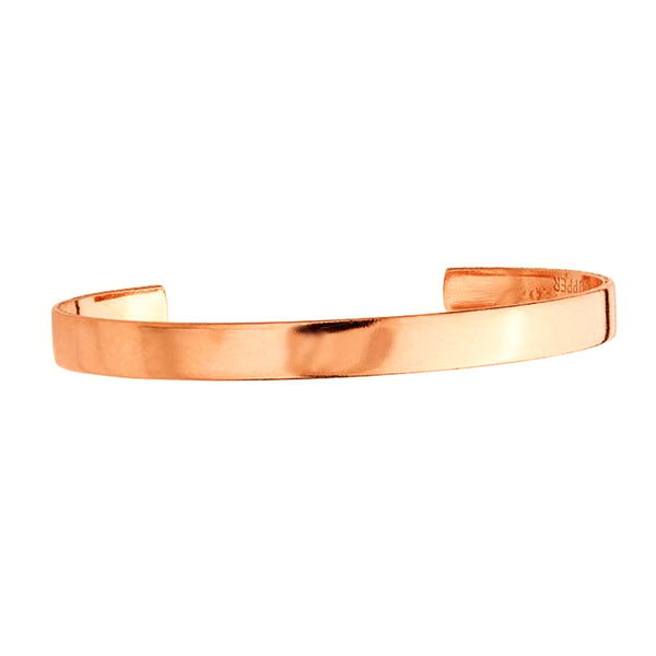 "Plain Narrow Polished Pure Copper Cuff Bracelet 1/4"" with Extra Durable Color Protect Finish"