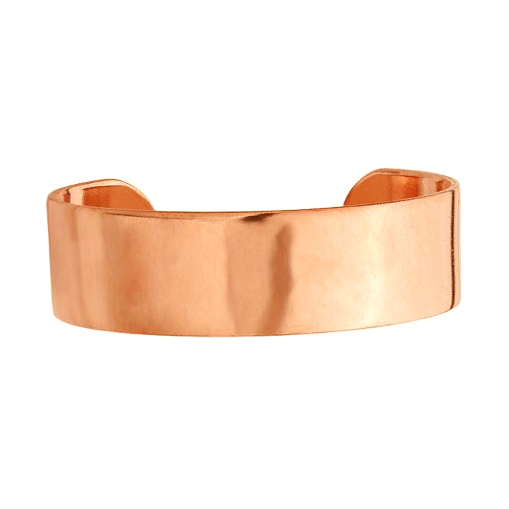 "Plain Large Polished Pure Copper Cuff Bracelet 3/4"" Wide with Extra Durable Color Protect Finish"