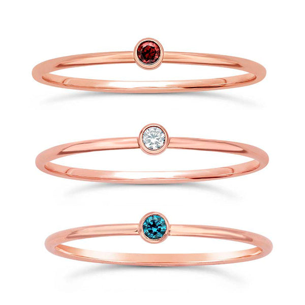 14/20 Rose Gold-Filled Petite Stackable Rings Fashion Red White & Blue CZ Gemstones, Set of 3