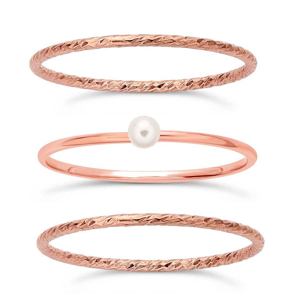 14/20 Rose Gold-Filled Petite Stackable Rings, Fashion Swarovski Pearl & Sparkle Finish, Set of 3
