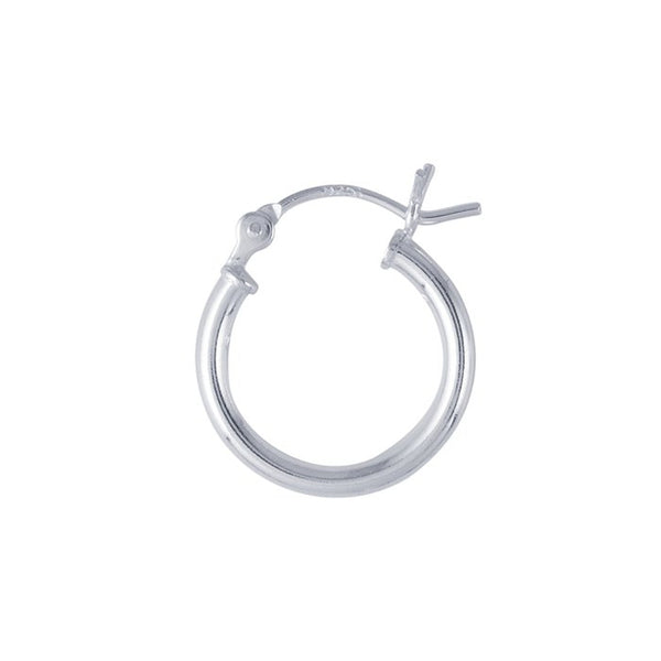 Sterling Silver 15mm x 2mm Hoop Earrings (Pair), Fine Silver-Plated For Extra Shine