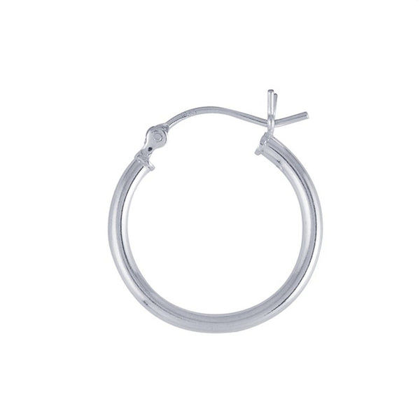 Sterling Silver 20mm x 2mm Hoop Earrings (Pair), Fine Silver-Plated For Extra Shine
