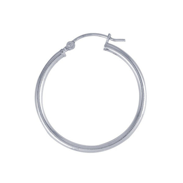 Sterling Silver 28mm x 2mm Hoop Earrings (Pair), Fine Silver-Plated For Extra Shine